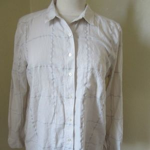 Ann Taylor Loft Softened Shirt L Cream with silver